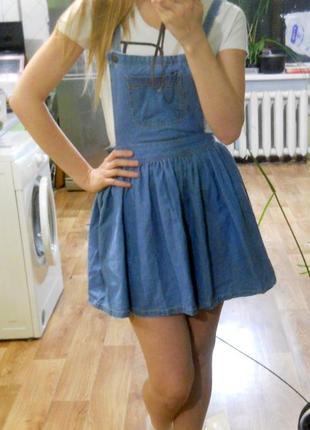 Модный джинсовый комбинезон с юбкой сарафан платье от denim co xs-s