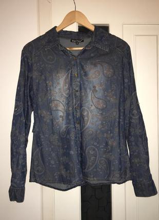 Шикарна джинсова сорочка. стильная джинсовая рубашка. р.40-42