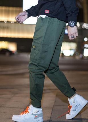 Штаны мужские джоггеры карго хаки зеленый,новые