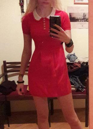 Натуральное алое платье xs