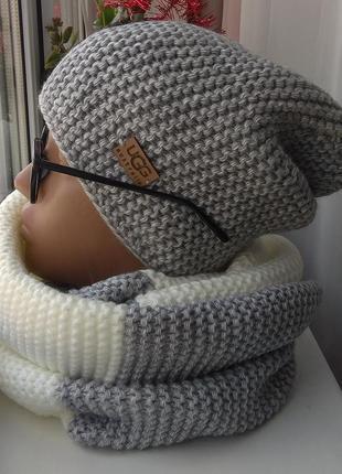 Новый комплект: шапка чулок (на флисе) и двухцветный хомут, молочно-серый