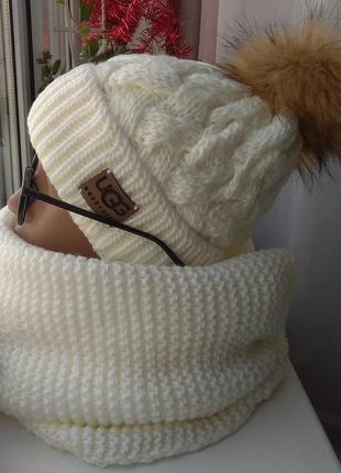 Новый комплект: шапка (на флисе) и хомут восьмерка, молочный