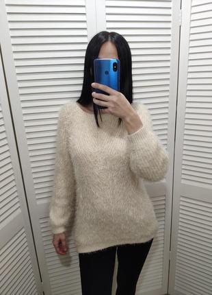 Пушистый свитер-травка h&m молочного цвета, р-р s.