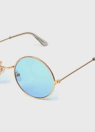 Круглые очки голубые линзы нулевки для имиджа стиля имиджевые тишейды