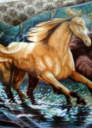Теплый меховой плед-покрывало лошади