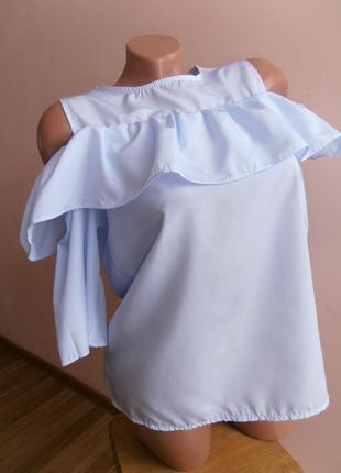 Милая  блуза с оборкой, в мелкую полосочку