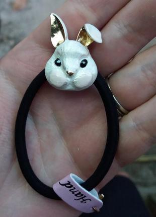 Резинка для волос белый кролик зайчик