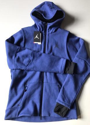 Оригинальный худи nike jordan shell tech fleece hooded sweatshirt blue