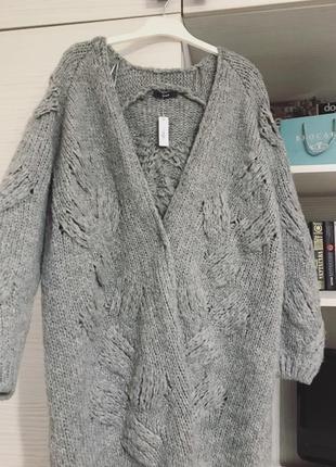 Вязаное объемное пальто удлиненный кардиган серый