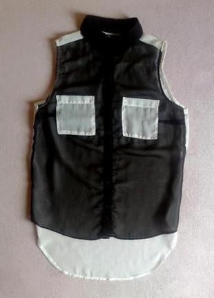 Лёгкая шифоновая блуза рубашка без рукавов