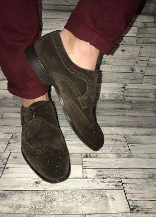 Замшевые коричневые туфли монки