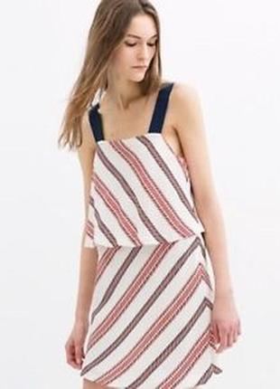 Оригинальное двухслойное платье в полоку zara