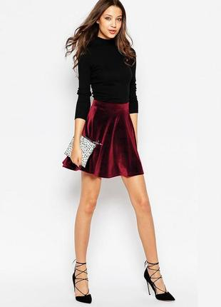 Велюровая юбка, бархатная юбка винного цвета