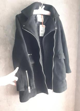 Нереально крутое теплое пальто косуха pull&bear3 фото