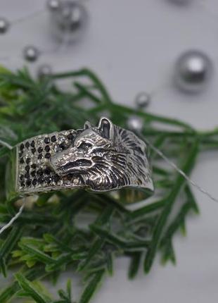 Эксклюзив! серебряное #кольцо, #тотем, #оберег, #волк, #камни #925, 20,5р-р