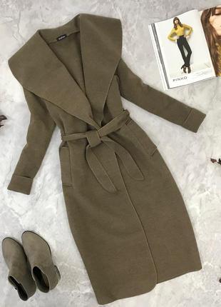 Классическое пальто под пояс с объемным воротником  ov1903033  boohoo