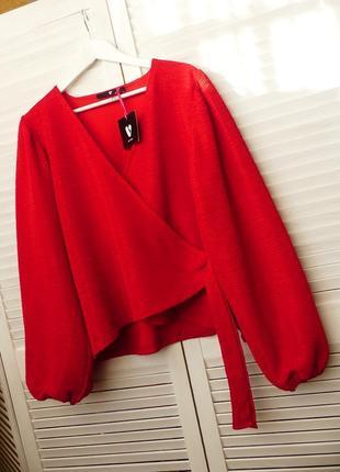 Фактурная блуза на запах,широкие рукава by very (uk 20 большой размер,см.замеры)