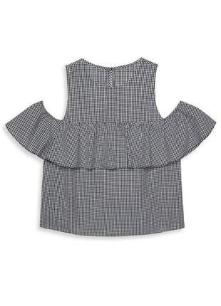 Крутая клетчатая блуза с воланом