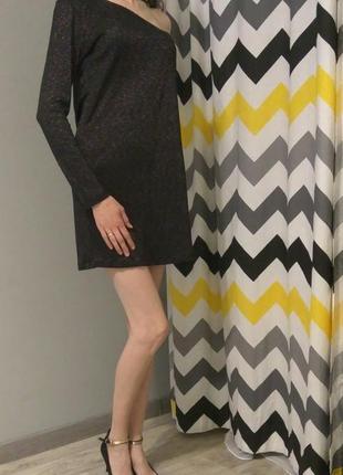 Коубное платье на одно плечо длинный рукав люрекс хамелеон