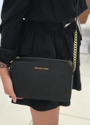 Чёрная кожаная сумка сумочка кроссбоди michael kors оригинал