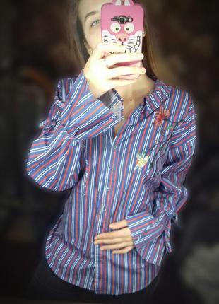 Полосатая хлопковая рубашка с вышивкой необычная рукава на завязках