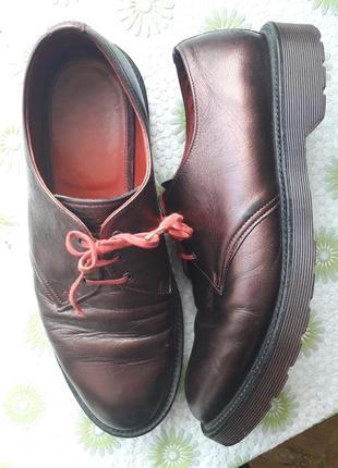 Мужские кожаные туфли dr. martens мартинсы демисезон весна осень 10 44 45 на шнурках