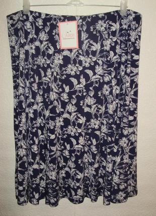 Новая с биркой трикотажная юбка на резинке цветочный принт/батал/20/54-56 размера