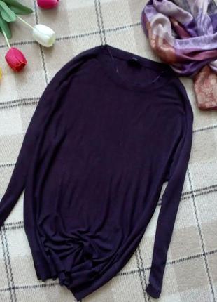 Вязаное платье свитер оверсайз 50% шерсти цвета ежевики