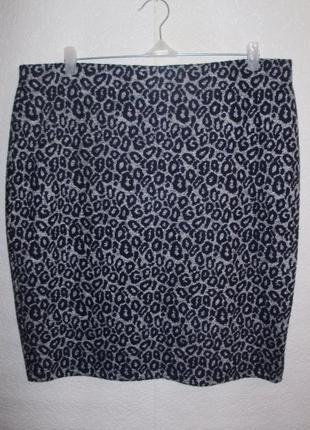 Теплая стрейчевая юбка карандаш в принт/батал/20/54-56 размера