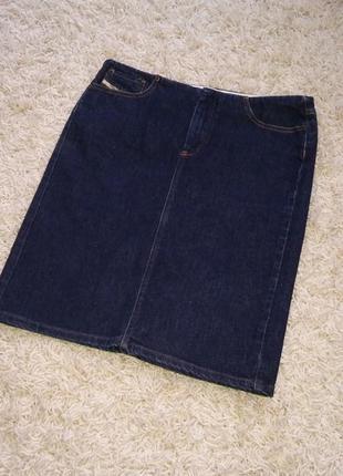 Джинсовая юбка миди бедровка