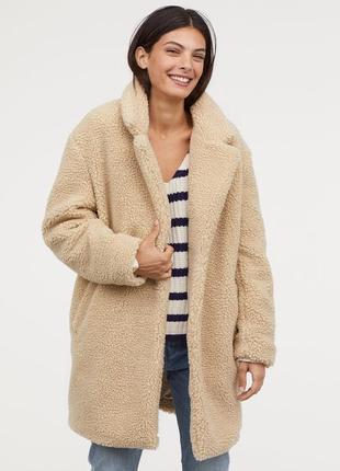 Искусственная шуба пальто тедди кемел h&m
