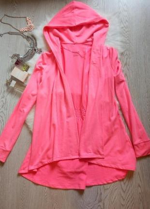 Розовый кардиган накидка мантия с капюшоном и рукавами длинная халатная ткань