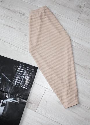 Красивая юбка карандаш в рубчик миди песочная беж пудра хс с 6 8