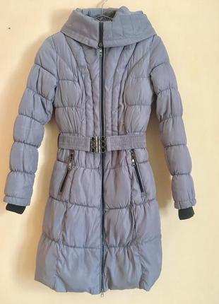 Сірий пуховик зимова куртка з капішоном турция