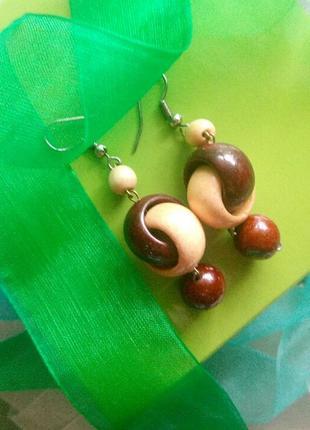 Винтажные серьги деревянные сережки висюльки винтаж2 фото