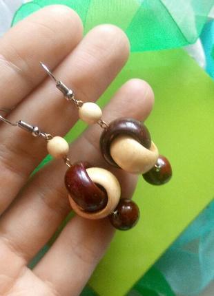 Винтажные серьги деревянные сережки висюльки винтаж3 фото