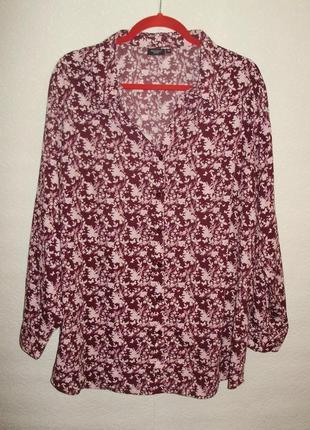 Красивая блуза цветочный принт марсала креп-шифон/батал/56-58 размера