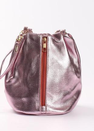 Необычная сумка на длинной ручке, цвет розовый электрик