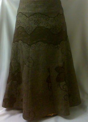 Стильная нарядная теплая юбка с кружевной отделкой и вышивкой.на подкладке.