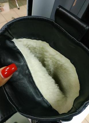 Зимние женские черные сапоги трубы натуральная кожа мех по всей длине3