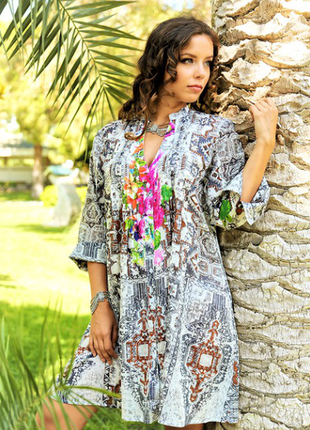 Летняя пляжная туника рубашка из хлопка индиано 137