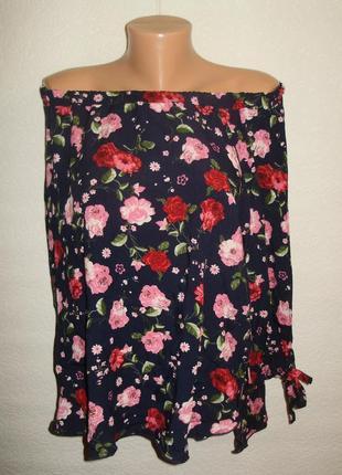 Модная блуза спущенные плечи-завязки на рукавах цветочный принт/56-58 размера