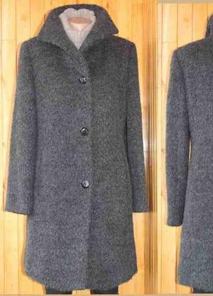 Крутое пальто альпака мохер шерсть серое marc aurel германия 36/38