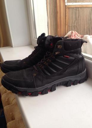 Зимние чёрные сапоги из натуральной кожи,фирменные кожаные сапоги на меху,ботинки