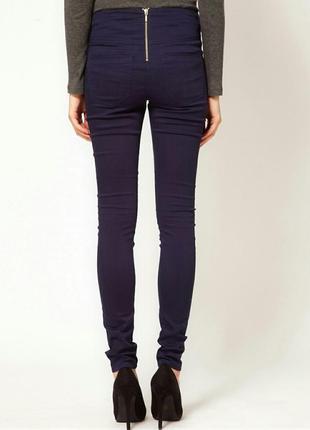 Джинсы штаны на высокой посадке с молнией сзади