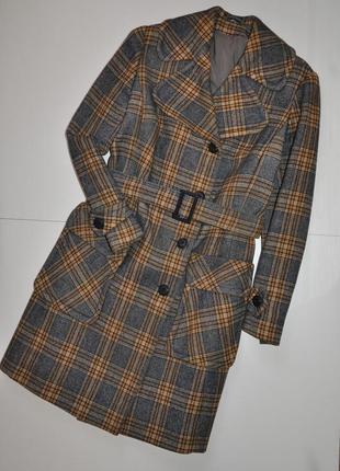 Стильное классическое миди пальто в клетку