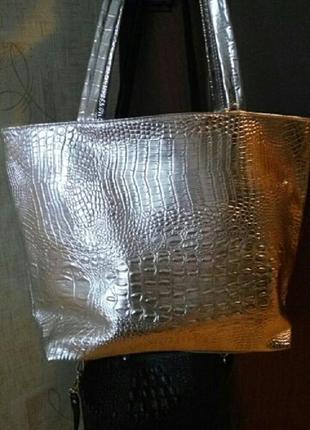 Крутая сумка-шоппер, светлое серебро3