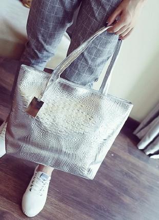 Крутая сумка-шоппер, светлое серебро4
