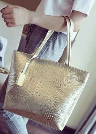 Крутая сумка-шоппер на плечо, цвет золото