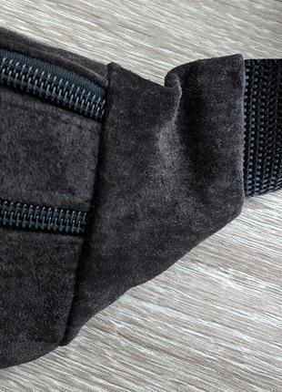 Бананка натуральная кожа, стильная сумка на пояс темно коричневый с оттенком баклажана2